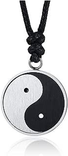 Chinese Philosophy Taoist Symbol Yin-Yang Taichi Yoga Stainless Steel Rhinestone Pendant Necklace