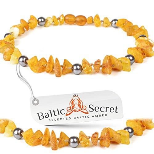 Baltic Secret Bernsteinkette Hund, Bernsteinhalsband Hunde mit Perlen, Zeckenschutz Katze, Flohhalsband Hunde, 100% Bernstein roh
