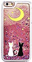 iPhone 6 / 6s Compatible, Cartoon Anime Animated Dynamic Hard Sparkling Pink Glitter Case - Yellow Moon Black White Sailor Cats In Love Sit Under the Moon
