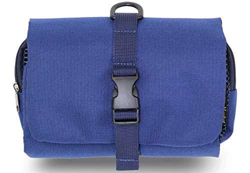 吊るせる トラベルポーチ 使いやすい 着脱式 ベルトに固定できる 化粧ポーチ 吊り下げ バッグインバッグ 出張 海外 旅行 育児 (青)