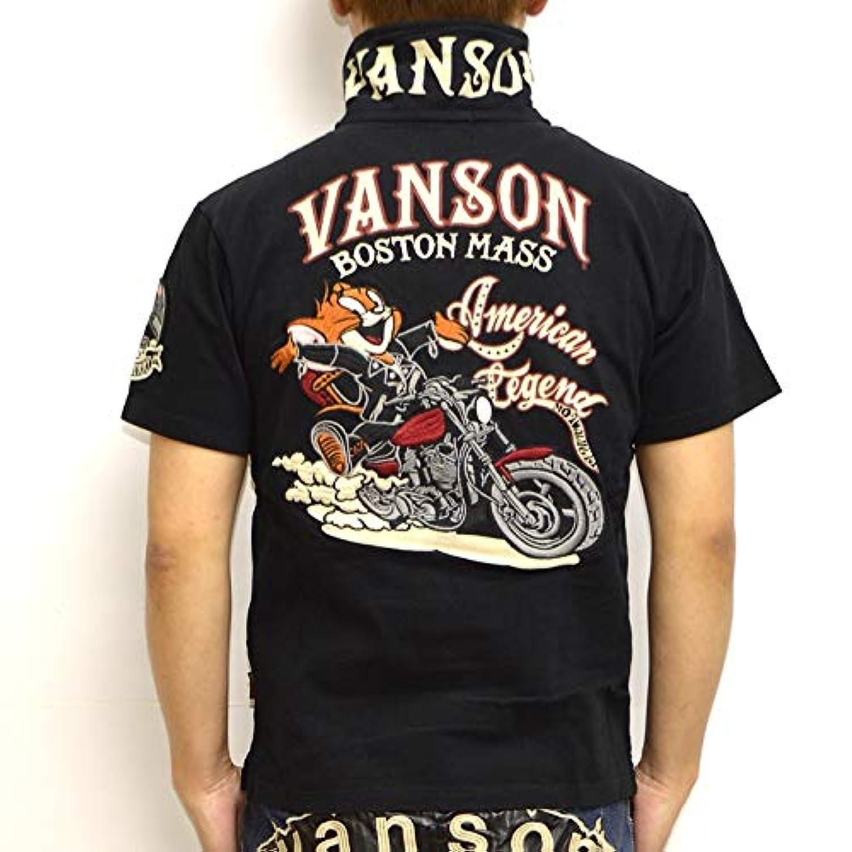 バンソン VANSON TOM and JERRY TJV-909 半袖ポロシャツ ブラック色 天竺半袖ポロ トム&ジェリー メンズ トップス