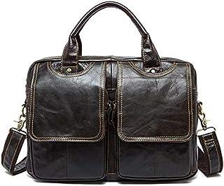 Trendy generous super cute Men's Briefcase Men's Top Cow Genuine Leather Business Handbag Briefcase Shoulder Messenger Sat...