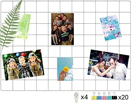 WJSX Upgrade Wall Grid Photo Pinboard Parete Fai da Te Griglia Reticolo Pinboard Photo Wall Memo Boards, Famiglia, Cucina, Ufficio(25,6 X 17,7 Zoll) Bianco