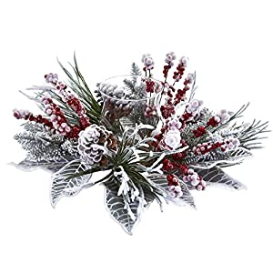 Sejahtera Group The Holiday Aisle Artificial Arrangement Snowy Magnolia Candelabrum, 2.5 lbs