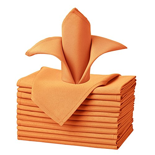 VEEYOO Cloth Napkins Set of 12 Pieces Solid Polyester Napkins Soft Fabric Washable and Reusable Dinner Napkin for Banquet Wedding Restaurant (Orange, 43x43cm)