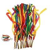 ORZIZRO Rainbow Dance Ribbons, 12PCS Rhythm Ribbon Streamers for Kids Children Adults - Bright & Multi-Colored