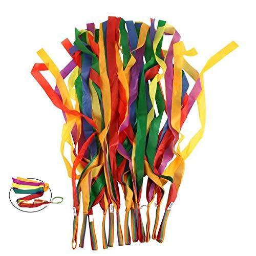 ORZIZRO Rainbow Dance Ribbons, 12PCS Rhythm Ribbon Streamers for Kids Children Adults - Bright &...