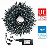 Decute 105FT 300 LED Waterproof Christmas String Lights UL Certified with End-to-End Plug 8 Modes, Outdoor Indoor Starry Light for Christmas Tree Halloween Patio Garden Wedding Party Decor, Warm White
