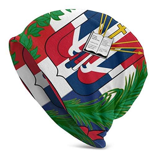 U Shape Dominikanische Republik Flagge 2Unisex Frauen Männer Slouchy Beanie Hat Übergroße Baggy Skull Cap Stretchy Strickmütze