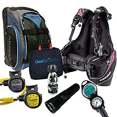 Cressi Travelight 15 LBS Scuba Diving Package Carry On Reg Dive Computer 7 Pink-Reg-Bag Kraken Dive Torch Lady-S