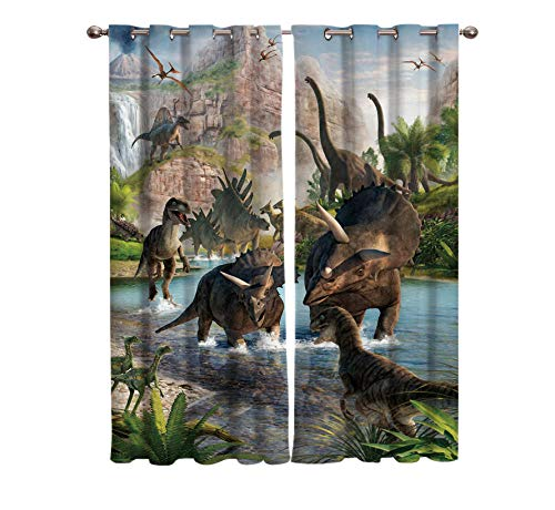 XIMDLS 3D Curtains shading Window blackout Curtains Living Room Jurassic Period Dinosaur Room Indoor Fabric Curtains