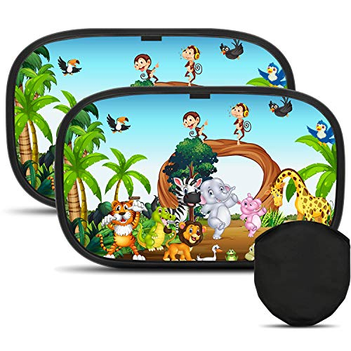 Karids Premium Auto-Sonnenschutz | mit süßen Design | perfekt für Babys und Kindern | mit niedlichen Kindermotiven | 2 Sonnenblenden (48cm x30cm) + Tragetasche