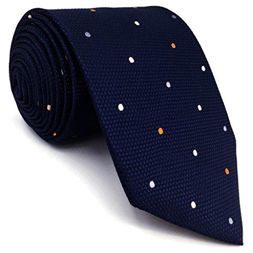 Shlax&Wing Puntini Blu Navy Cravatta da uomo Attività commerciale Seta Puntini 147cm