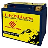 12-BS LiFePO4 Motorcycle Battery 12V 102.4Wh 520CCA Lithium Iron Phosphate Battery LCD Voltage Display Build in BMS Maintenance Free High Performance 10-Year Service Life with Charger (Left Positive)