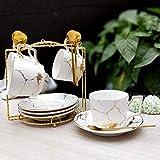 SSHDX Juego de Cuchara de Taza de café de cerámica de mármol de mármol 200ml Taza de té nórdico Mate té té té Taza Taza café café Espresso (Color : B)