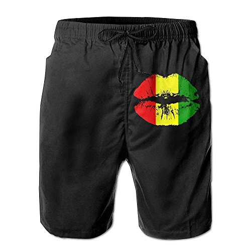 Paint0 Reggae Rasta Lips Mens Summer Swim Trunks Casual Boardshort Medium