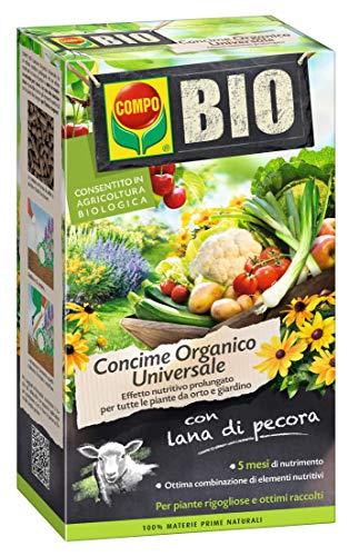 COMPO BIO Concime Universale Organico per Piante da Orto e da Giardino, Con Lana di Pecora, Effetto Prolungato, Consentito in agricoltura biologica, 2kg