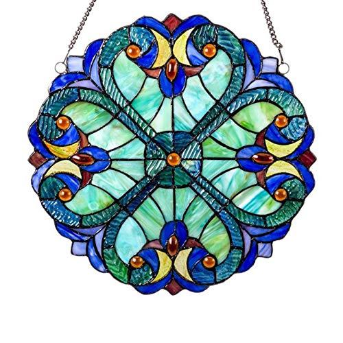 ELIAUK Buntglasscheibe, Mini-Halston-Herzen, Fensterpaneel, Barock, runder Sonnenfänger, Wanddekoration für Zuhause, Fenster, blau, gelb, rot, 25,4 cm