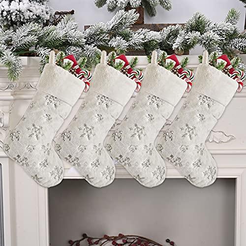 Bseical Calcetines Chimenea Navidad, 4 Piezas Calcetines Chimenea Navidad Personalizados, Peluche Calcetines De Navidad Adornos, Arbol Bolsas Regalo Navidad Adornos, Navidad DecoracióN Casa (Plata)