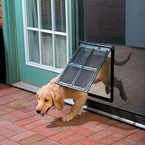 Namsan Magnetic Automatic Lock/Lockable Pet Screen Door Inside Size 12x16 Inches Dog Door for Sliding Door for Doggy, Cat