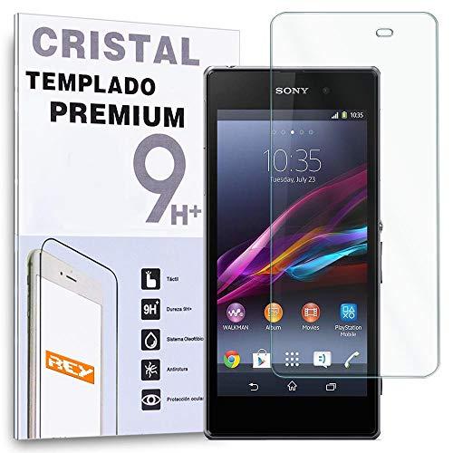 REY Protector de Pantalla para Sony Xperia Z1 Cristal Vidrio Templado Premium