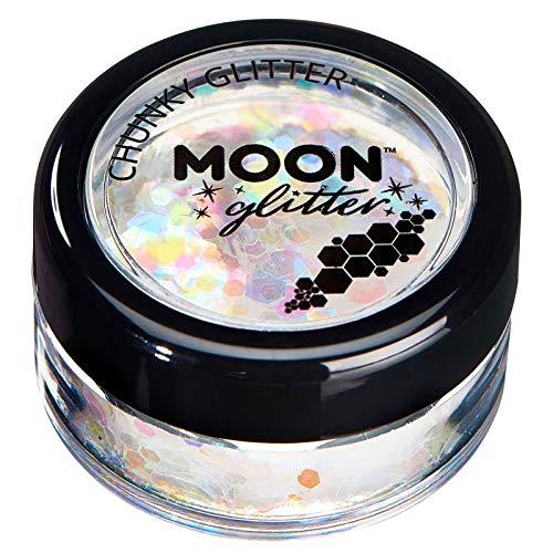 Paillettes rondes irisées par Moon Glitter (Paillette Lune) – 100% de paillettes cosmétique pour le visage, le corps, les ongles, les cheveux et les lèvres - 3g - Blanc
