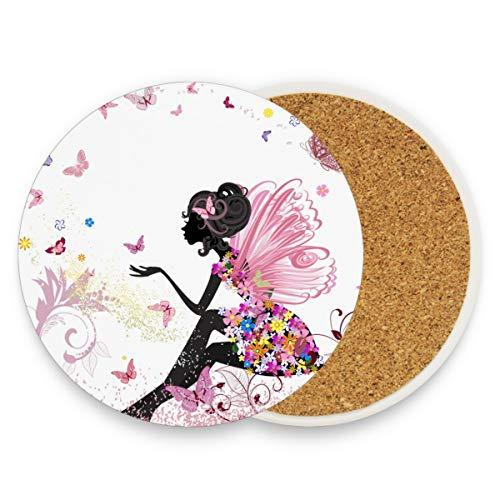 Posavasos de cerámica para bebidas absorbentes, diseño de hada de flores, mariposas de corcho, posavasos divertidos para hombres, decoración rústica, cerámica, Patrón, 0.20x3.9inx1