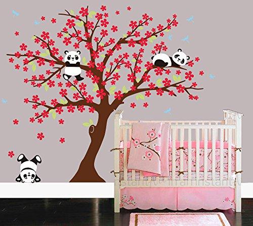 Sayala 3 Pandas Mignons Prune Rouge Fleur Stickers Muraux/Autocollant Arbre mural pour Décorer Chambres d'enfants, Garderie, Baby, Boys & Girls Chambre murale (Marron)
