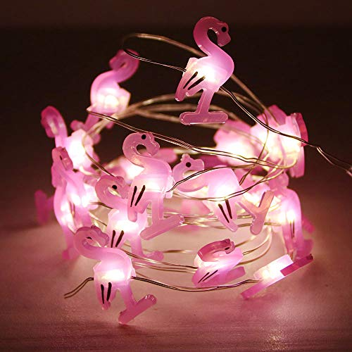 GUOCHENG Flamingo Accessories Battery Operated Fairy String Lights Firefly 20leds Satrry Lights on 2.2m Silver Copper Wire for DIY Decoration(Flamingo)