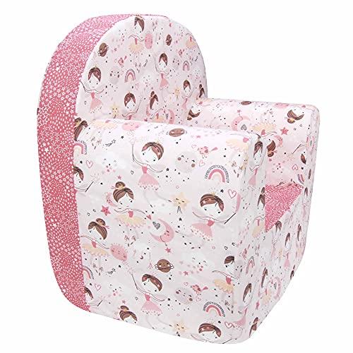 Poltroncina Bimbi Babysanity® Poltrona Bambino Rivestimento in Puro Cotone Sfoderabile e Lavabile in Lavatrice Ottimo Complemento d'Arredo per la Cameretta - Made in Italy - (Fatina rosa)