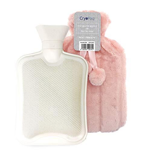 Luxuriöse, große Wärmflasche mit Plüsch Bezug in 7 versch. Farben 2L, umweltfreundliches Produkt das Sie an kalten Wintertagen wärmt, flauschige Bettwärmflasche & weiche Hülle von Cryopaq – Rosarot