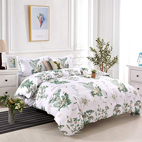 YMY Lightweight Microfiber Bedding Duvet Cover Set, Floral Printing Pattern (Green, Queen)