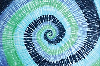 Sunshine Joy Blue Green Spiral Tie-Dye Tapestry Hanging Wall Art - Great for Apartments, Dorms, Homes, and Office