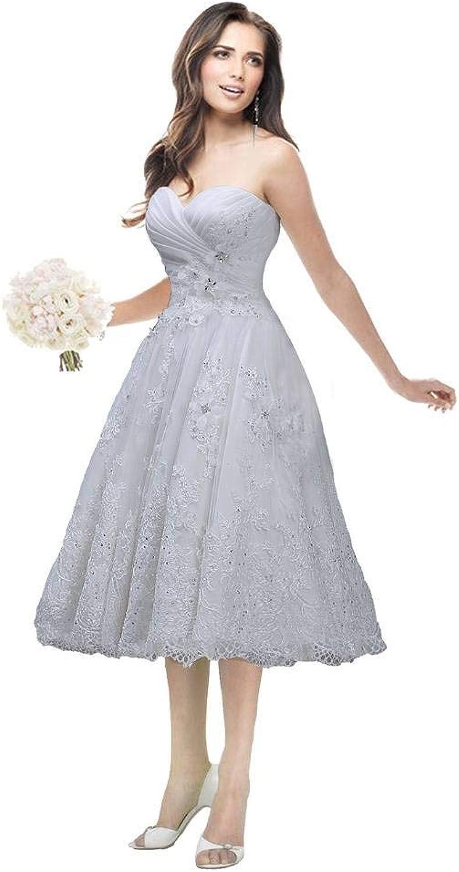 JoyVany Sweetheart Short Lace Wedding Dress 2016 Beaded Tea Length Wedding Gowns