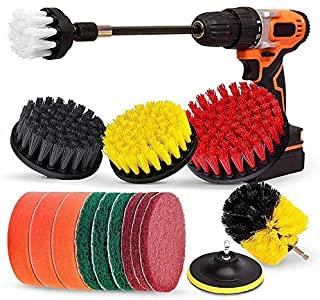 TOOGOO Drill Brush Set, Extend Long ttachment, Scrub Pads, Sponge, Power Scrubber Cleaning Kit for Grout, Tile, Carpet, Si...