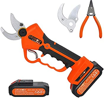 Pikasola Electric Pruning Shears for Bushes Tree Branch Limb Cordless Electric Pruner with 2 Lithium Battery 6-7 Working Hours 1.2inch Diameter Electric Shear with 2 Replacement Blades.