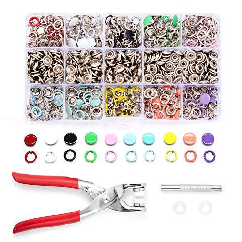 GLCS GLAUCUS 200 Sets Botones de Presión Metal con Herramientas 10 Colores para Manualidades, Ropa de bebé, Telas, Bolsos