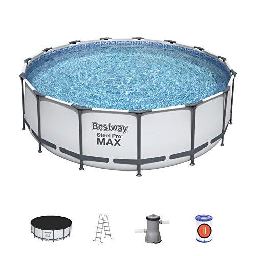 Bestway 56438 Piscine hors sol Steel Pro Max™ diamètre 457 x 122 cm, filtre à cartouche, bâche, échelle