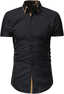 3428ec6f68401 Pandaie Mens Blouse Shirts Men s Solid Casual Button Down Short Sleeve  Shirt Top Blouse