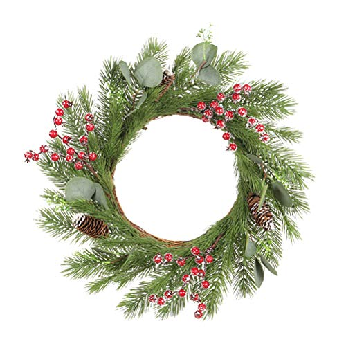 ABOOFAN Pine Leaf Hanging Wreath Festival Garland Wall Dangling Decoration (Green) Party Favors