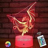 Menzee Dragon - Lámpara de noche para niños, 16 colores, lámpara de dragón con mando a distancia, lámpara de ilusión óptica 3D, regalo de cumpleaños para niños y niñas
