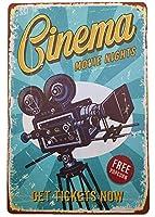 AIQIBAO メタルブリキ看板 シネマ ヴィンテージ ウォールデコ 映画 ハウス バー パブ ファニー レター アートサイン 12インチ×8インチ