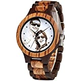 Personalized Custom Wooden Watch for Men Engraved Photo Zebra Wood Watches with Adjustable Wristband for Husband Dad Son or Boyfriend for Birthday Anniversary Present