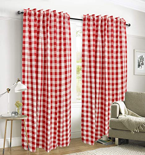 Gingham Check Window Curtain Panel, 100% Cotton, Red/White, Cotton Curtains, 2 Panels Curtain, Tab Top Curtains, 50x84 Inches, Set of 2