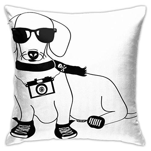 Ahdyr Hipster Dachshund Cute Dog Cartoon Character Cushion Throw Pillow Cover Decorative Pillow Case For Sofa Bedroom 18 X 18 Inch