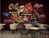Fotomural Graffiti Graffiti Red Brick Monkey   Papel pintado   Mural   Mural   Imagen   Murales de pared   Fondos de Pared Pintado Papel tapiz 3D Decoración dormitorio sala sofá mural-350cm×256cm