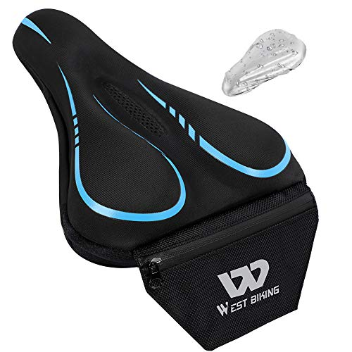 WESTLIGHT Comfortable Bike Seat Cover,Hollow Breathable,Non-slip Gel Seat Cushion for Bike with Tail Pocket,Bike Accessories,Waterproof Saddle Cover Padded,Gel Seat Cushion for Bike for Women Men