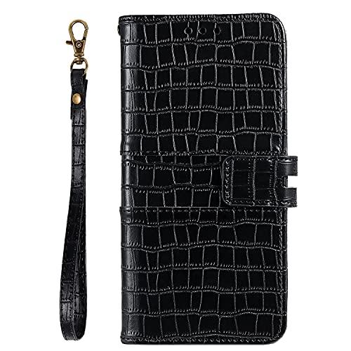 JZ P Smart Z Crocodile Pattern Design Funda For para Huawei P Smart Z/Y9 P Rime 2019 Pure Color Flip Cover - Black