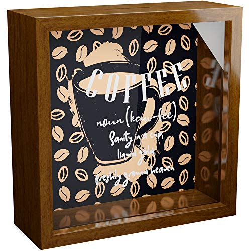Coffee Lover Gifts | 6x6x2 Shadow Box with Glass Front | Wood Keepsake Frame Box | Coffee Art Wall Decor | Framed Quotes Sign | Great for Home Decorations | Ideal for Collecting Special Items