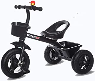 Jeterndy Children's Tricycle Tricycle with Push Handle for Steering and Toy Sand Bucket Toddler Stroll and Ride Trike Children's Walker Kids Trike (Color : Black, Size : One Size)